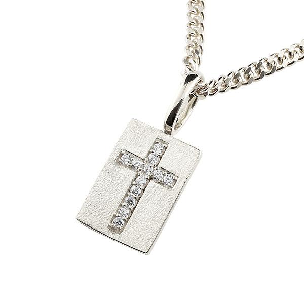 プレート クロス ネックレス ダイヤモンド ホワイトゴールドk10 ペンダント 十字架 チェーン 人気 4月誕生石