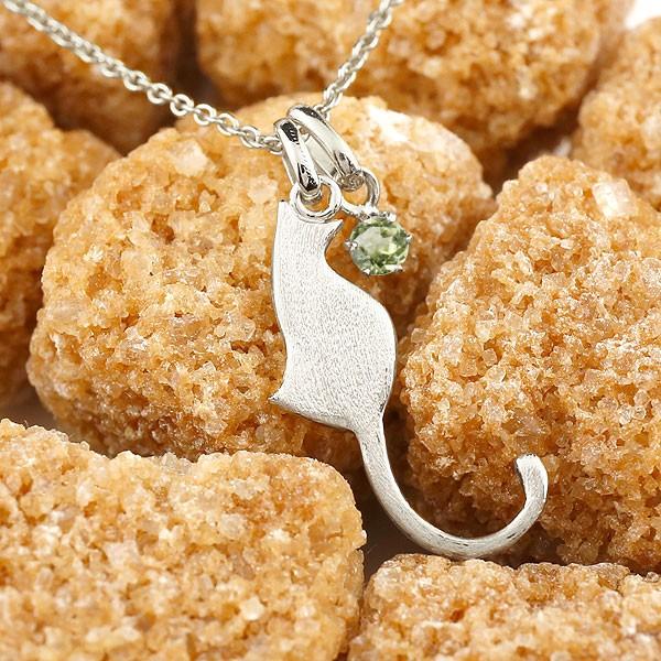 猫 ネックレス ペリドット 一粒 プラチナ ペンダント ネコ ねこ 8月誕生石 メンズ チェーン 人気