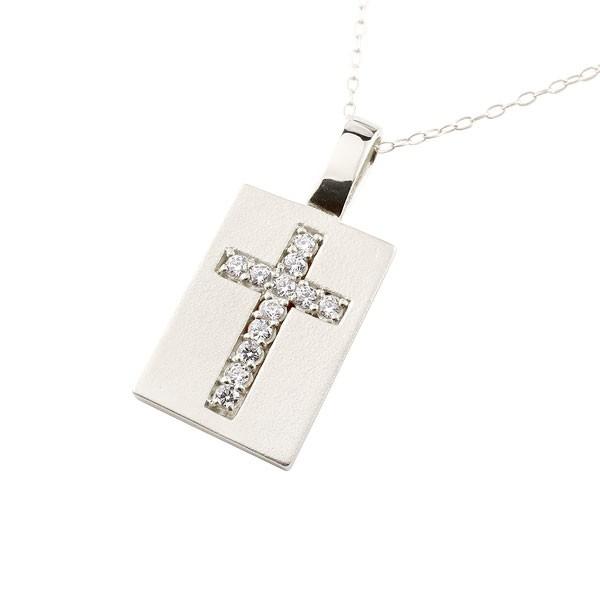 プレート クロス ネックレス キュービックジルコニア プラチナ ペンダント 十字架 チェーン 人気