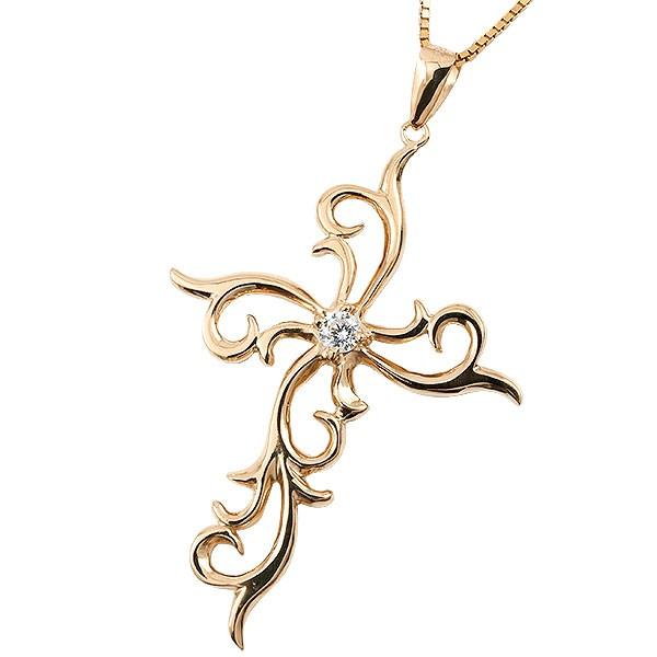 メンズ ネックレス ペンダント ピンクゴールドk10 ダイヤモンド 一粒  クロス 10金 チェーン 十字架 人気 コントラッド 東京