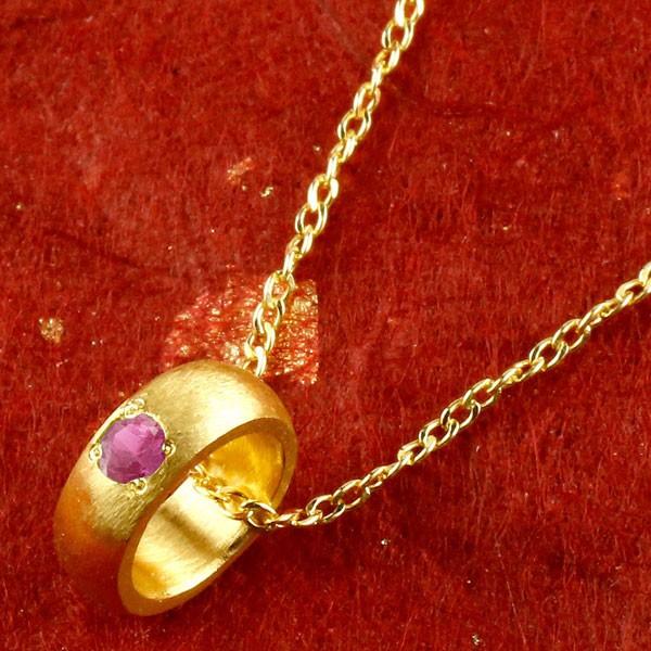 純金 ベビーリング ルビー 一粒 ペンダント 誕生石 出産祝い ネックレス メンズ 7月誕生石 甲丸 24金 k24 人気