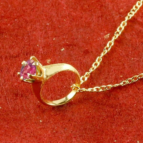 純金 ベビーリング ルビー 一粒 ペンダント 誕生石 出産祝い ネックレス メンズ 7月誕生石 24金 k24 立爪 人気
