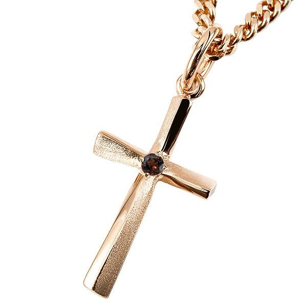 ネックレス メンズ 喜平用 キヘイ クロス ガーネット ピンクゴールドk10 ペンダント 十字架 シンプル つや消し 男性用 キヘイチェーン
