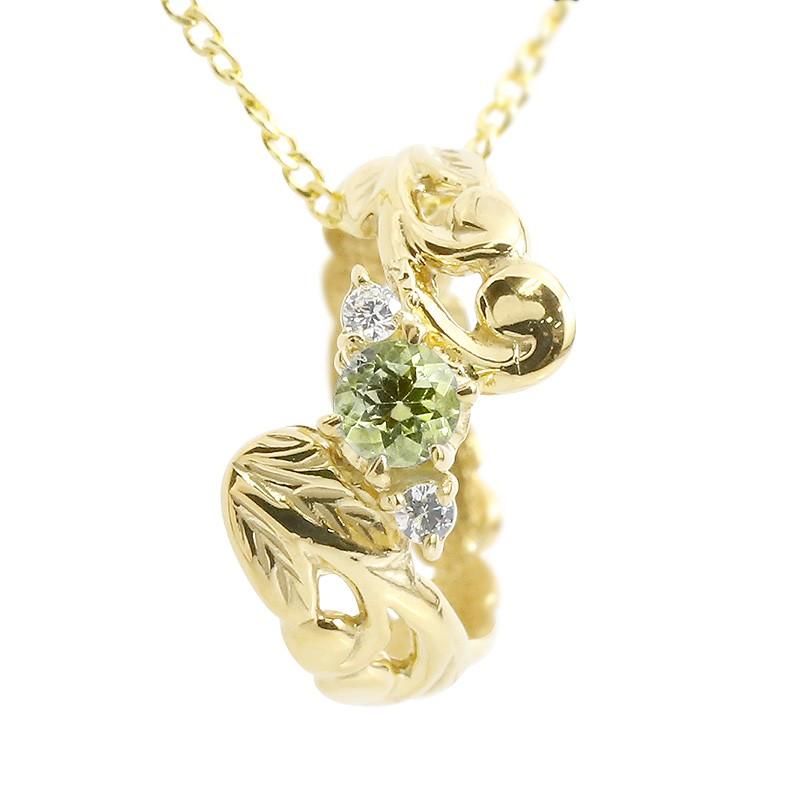 ハワイアンジュエリー ネックレス ペリドット ダイヤモンド イエローゴールドk18 ベビーリング チェーン ネックレス シンプル 人気 プレゼント