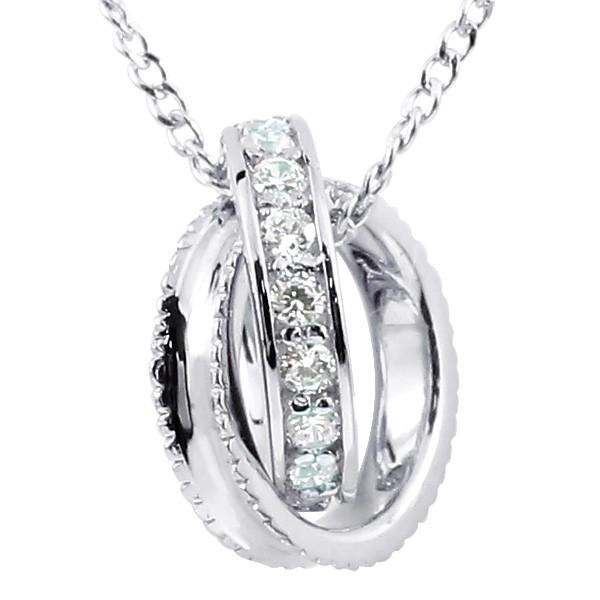 ネックレス ダイヤモンド ネックレス ペンダント ホワイトゴールドk18 ダイヤリングネックレス ミル打ち エタニティー プラチナ チェーン 18金 18k