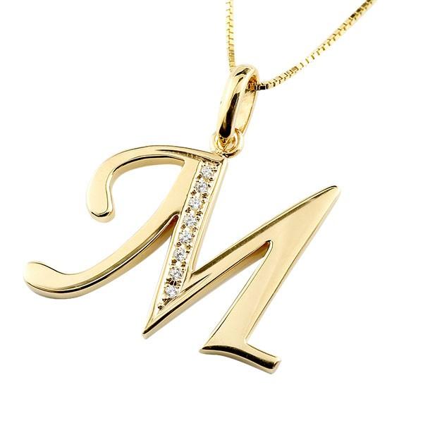 イニシャル M ネックレス イエローゴールドk10 ペンダント ダイヤモンド アルファベット レディース チェーン 人気