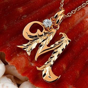 ハワイアンジュエリー イニシャル M ネックレス ピンクゴールドk10 ペンダント ダイヤモンド アルファベット レディース チェーン 人気