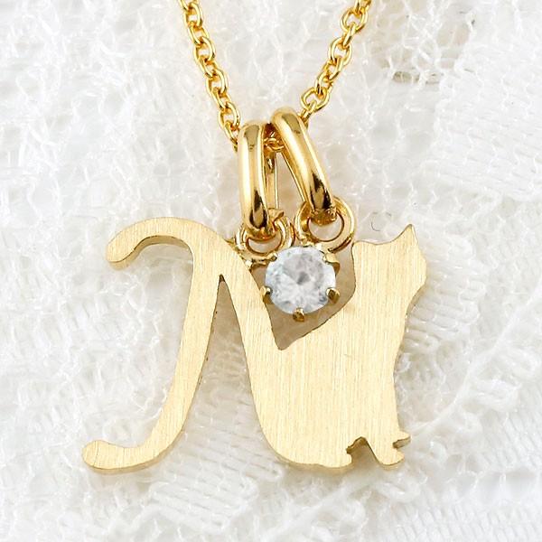 イニシャル N 猫 ネックレス ブルームーンストーン  イエローゴールドk18 ペンダント アルファベット ネーム ネコ ねこ 18金  ヘアライン仕上げ レディース チェーン 人気 6月誕生石