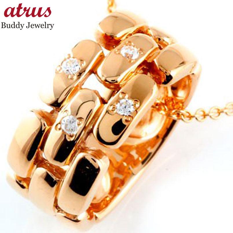 ダイヤモンド ネックレス ペンダント ダイヤ リングネックレス ピンクゴールドk18 メンズ チェーン 人気