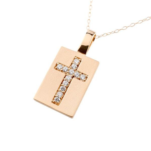 プレート クロス ネックレス キュービックジルコニア ピンクゴールドk18 ペンダント 十字架 チェーン 人気