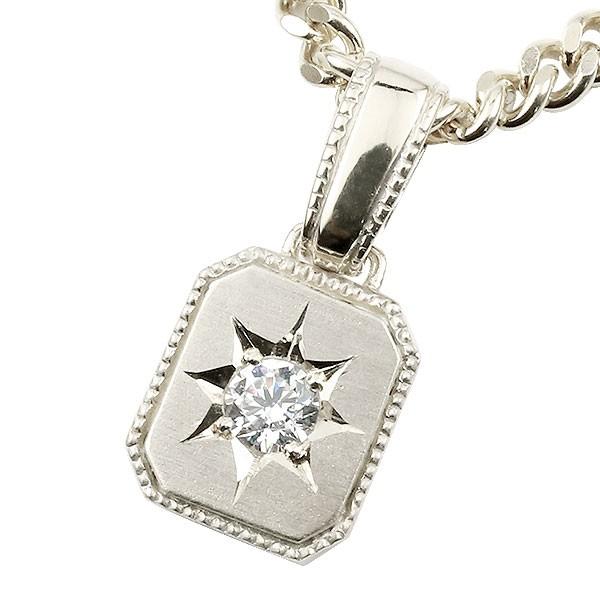 メンズ ダイヤモンド ネックレス 一粒 ホワイトゴールドk10 ダイヤ ペンダント 10金 チェーン 人気 ホーニング つや消し加工