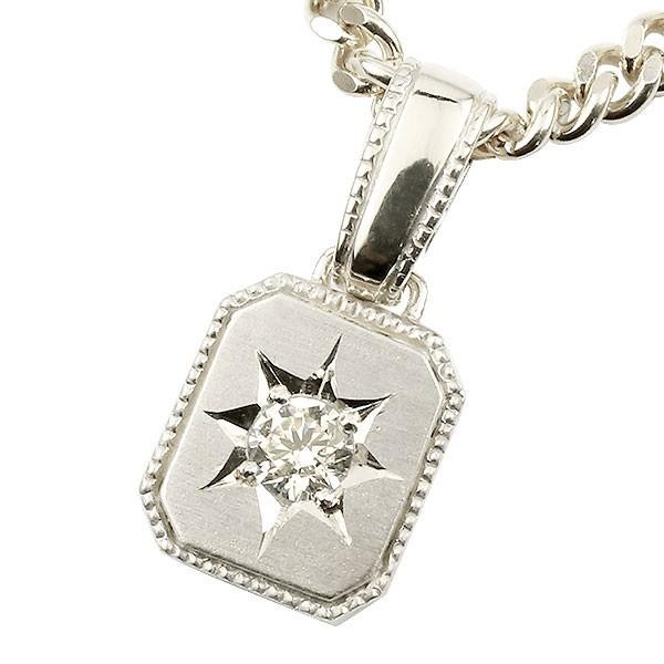 メンズ ダイヤモンド ネックレス 一粒 ホワイトゴールドk18 ダイヤ ペンダント 18金 チェーン 人気 ホーニング つや消し加工