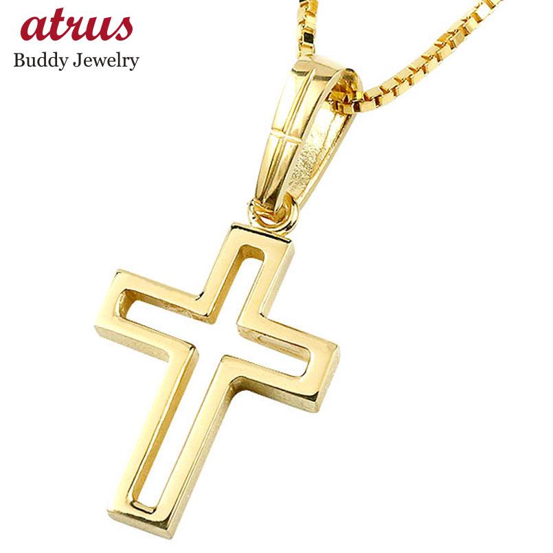 メンズ  クロス ネックレス イエローゴールドk10 ペンダント 一粒 pt900 チェーン 十字架 人気 透かし コントラッド 東京