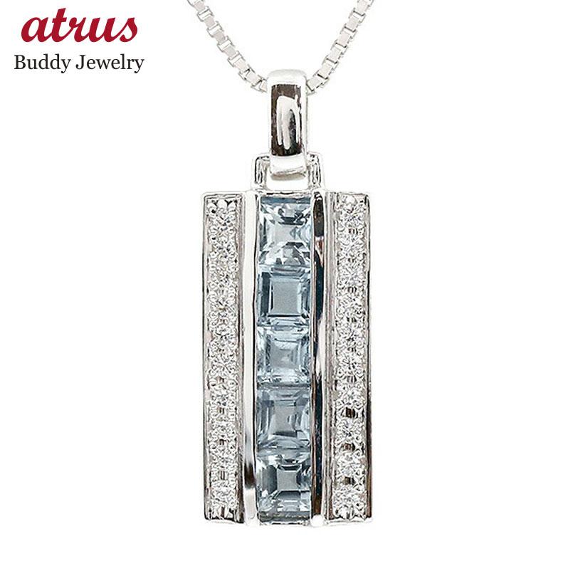 メンズ ネックレス ホワイトゴールドk18 キュービックジルコニア ブルートパーズ バーネックレス ペンダント 18金 チェーン 男性用 人気 宝石