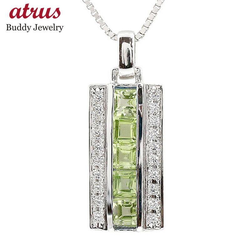 メンズ ネックレス ホワイトゴールドk18 ダイヤモンド ペリドット バーネックレス ペンダント 18金 チェーン 男性用 人気 宝石
