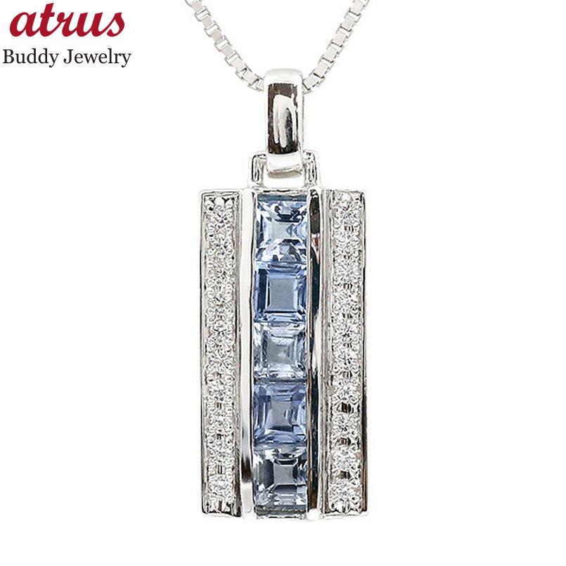 メンズ ネックレス ホワイトゴールドk18 キュービックジルコニア タンザナイト バーネックレス ペンダント 18金 チェーン 男性用 人気 宝石