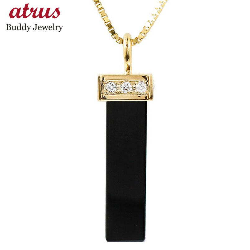 メンズ ネックレス イエローゴールドk18 オニキス バーネックレス ペンダント 18金 チェーン 男性用 人気 宝石