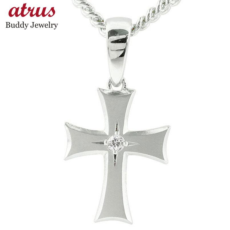 喜平用 メンズ クロス キュービックジルコニア ネックレス ホワイトゴールドk18 ペンダント 十字架 つや消し 18金 シンプル 男性用 キヘイチェーン