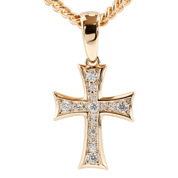 喜平用 メンズ ダイヤモンド クロス ネックレス ピンクゴールドK10 ペンダント 十字架 10金 シンプル ダイヤ 男性用 キヘイチェーン