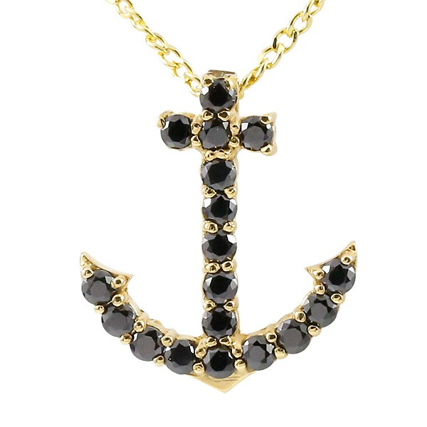 ネックレス メンズ ブラックダイヤモンド イエローゴールドk18 イカリ ペンダント 18金 チェーン アンカー マリン系 人気