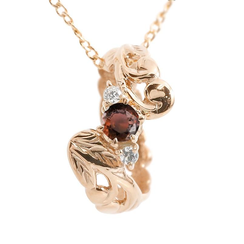 ハワイアンジュエリー ネックレス ガーネット ダイヤモンド ピンクゴールドk10 ベビーリング チェーン ネックレス シンプル 人気 プレゼント