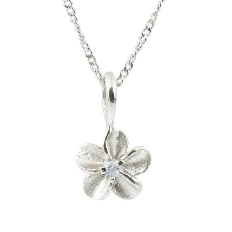 ハワイアンジュエリー プラチナネックレス アクアマリン プルメリア チェーン ペンダント レディース pt900 花 フラワー