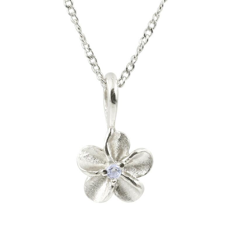 ハワイアンジュエリー プラチナネックレス タンザナイト プルメリア チェーン ペンダント レディース pt900 花 フラワー