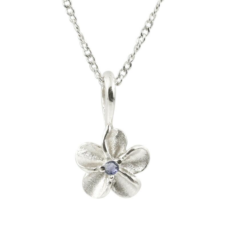 ハワイアンジュエリー プラチナネックレス アイオライト プルメリア チェーン ペンダント レディース pt900 花 フラワー