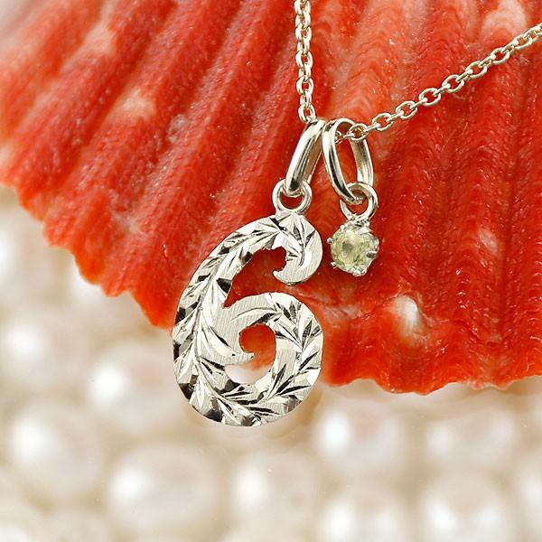 ハワイアン 数字 6 ペリドット ネックレス プラチナ ペンダント ナンバー pt900 レディース チェーン 人気 8月誕生石