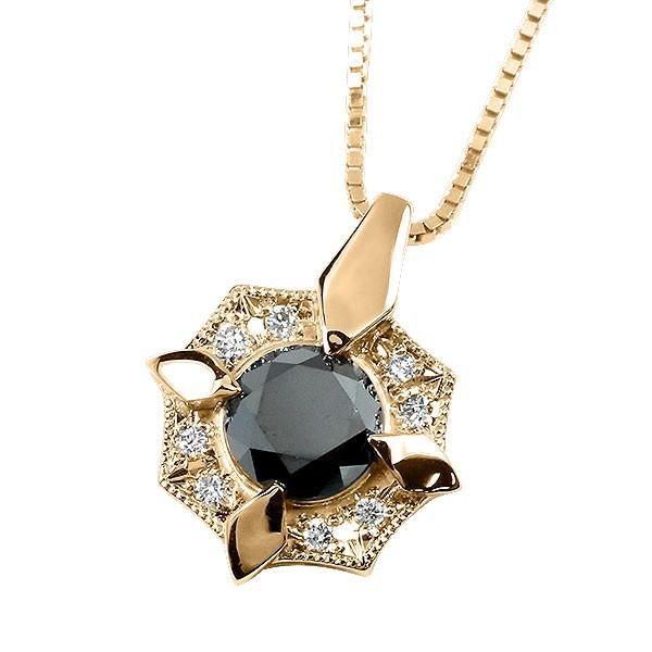 メンズ ネックレス ブラックダイヤモンド ピンクゴールドk18 ダイヤ ペンダント 男性用 人気 トレジャーハンター