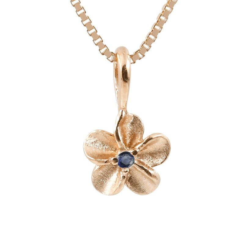 ハワイアンジュエリー ネックレス ピンクゴールドk10 サファイア プルメリア チェーン ペンダント メンズ 10金 花 フラワー