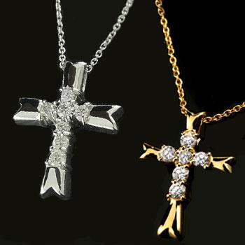 ペアネックレス ペアペンダント クロス プラチナ ダイヤモンド ネックレス ペンダント イエローゴールドk18 十字架 ダイヤ レディース