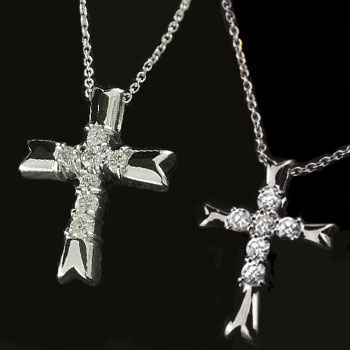 ペアネックレス ペアペンダント クロス プラチナ ダイヤモンド ネックレス ペンダント 十字架 ダイヤ レディース