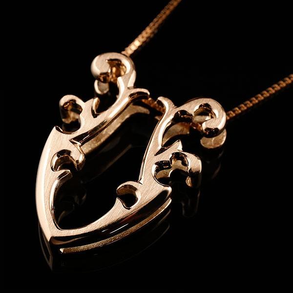 メンズ 馬蹄 ピンクゴールドk10 ネックレス ペンダント ホースシュー 蹄鉄 アンティーク風 k10 10金 チェーン 人気