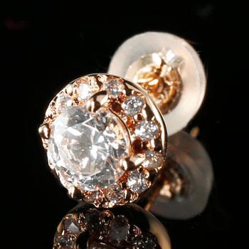 鑑定書付 片耳ピアス ダイヤモンド ピアス 大粒ダイヤ 取り巻きピアス ピンクゴールドk18