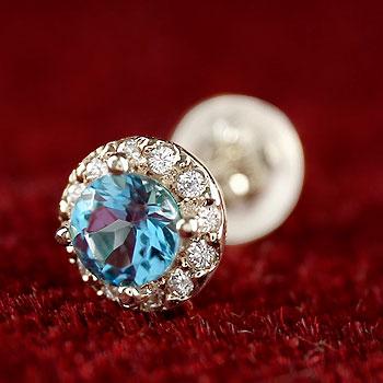 片耳ピアス ブルートパーズ ダイヤモンド 大粒 取り巻き スタッドピアス ホワイトゴールドk18 11月誕生石 レディース