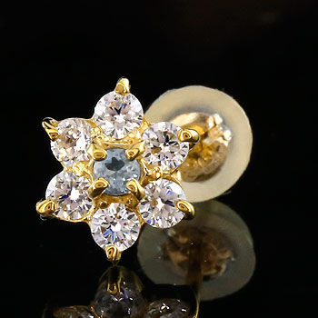 メンズ 片耳ピアス ダイヤモンド アクアマリン ピアス フラワー 花 スタッドピアス イエローゴールドk18