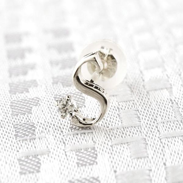 イニシャル S ピアス ダイヤモンド プラチナ  アルファベット ネーム メンズ  人気 4月誕生石