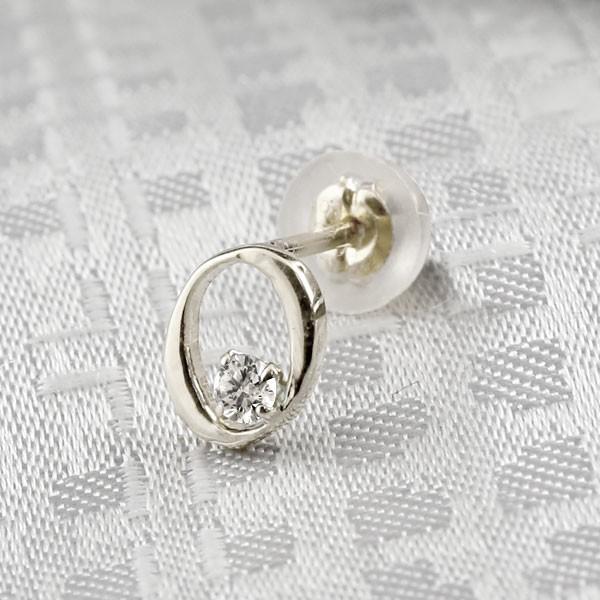 イニシャル O ピアス ダイヤモンド プラチナ  アルファベット ネーム メンズ  人気 4月誕生石