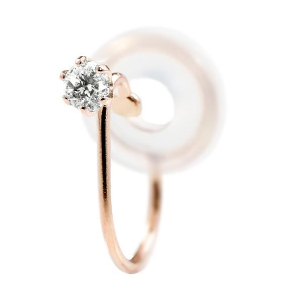 イヤリング ダイヤモンド ピンクゴールドk18 シリコン クリップ式 ノンホールピアス メンズイヤリング 18金