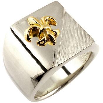 メンズ プラチナ 印台リング 幅広 指輪 ユリの紋章 イエローゴールドk18 コンビリング ピンキーリング 男性用