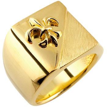 メンズ 印台リング 幅広 指輪 ユリの紋章 イエローゴールドk18 ピンキーリング 18金 男性用
