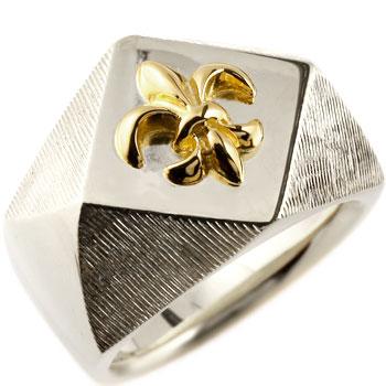メンズ プラチナ 印台リング 指輪 ユリの紋章 コンビリング 男性用
