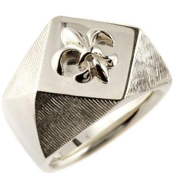 メンズ 印台リング 指輪 ユリの紋章 ホワイトゴールドk18 男性用