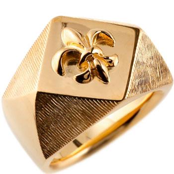 メンズ 印台リング 指輪 ユリの紋章 ピンクゴールドk18 男性用