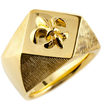 メンズ 印台リング 指輪 ユリの紋章 イエローゴールドk18 男性用