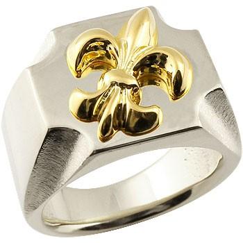 メンズ 印台リング 幅広 指輪 ユリの紋章 プラチナ イエローゴールドk18 コンビリング ピンキーリング 男性用