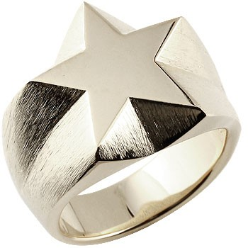 メンズ 印台リング 星 スター 幅広 指輪 シルバーリング ピンキーリング 男性用