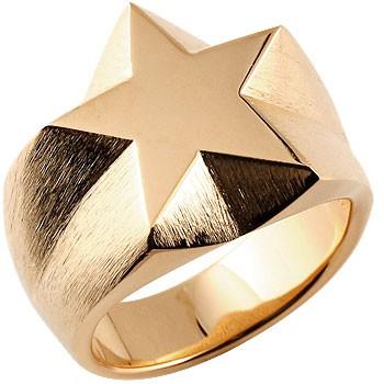 メンズ 印台リング 星 スター 幅広 指輪 ピンキーリング ピンクゴールドk18 18金 男性用