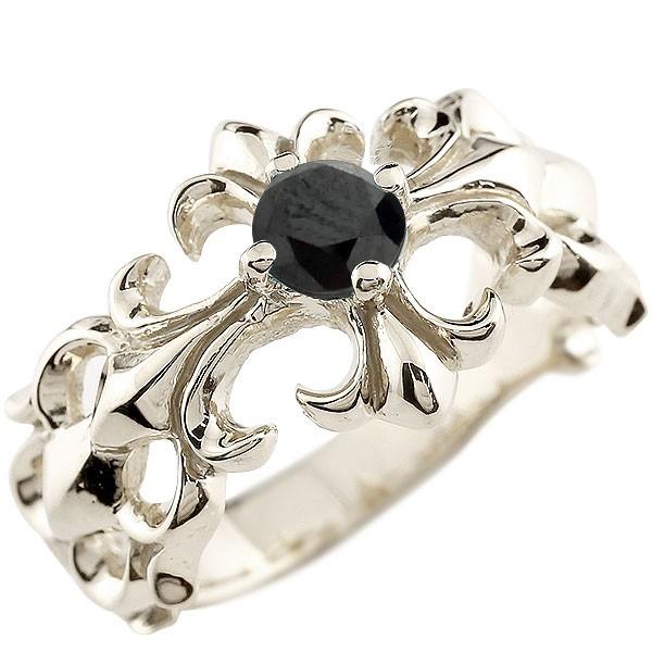 メンズ クロス プラチナリング ブラックダイヤモンド 幅広 指輪 ダイヤ ピンキーリング pt900 男性用